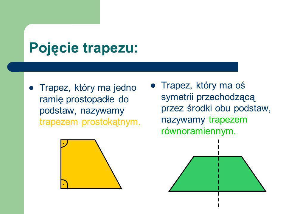 Pojęcie trapezu: Trapez, który ma oś symetrii przechodzącą przez środki obu podstaw, nazywamy trapezem równoramiennym.