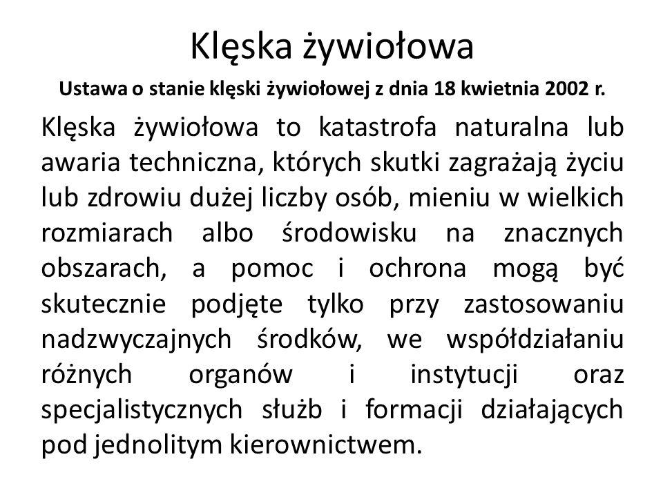Ustawa o stanie klęski żywiołowej z dnia 18 kwietnia 2002 r.