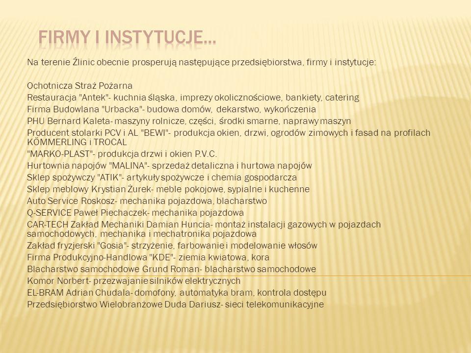 Firmy i instytucje...Na terenie Źlinic obecnie prosperują następujące przedsiębiorstwa, firmy i instytucje: