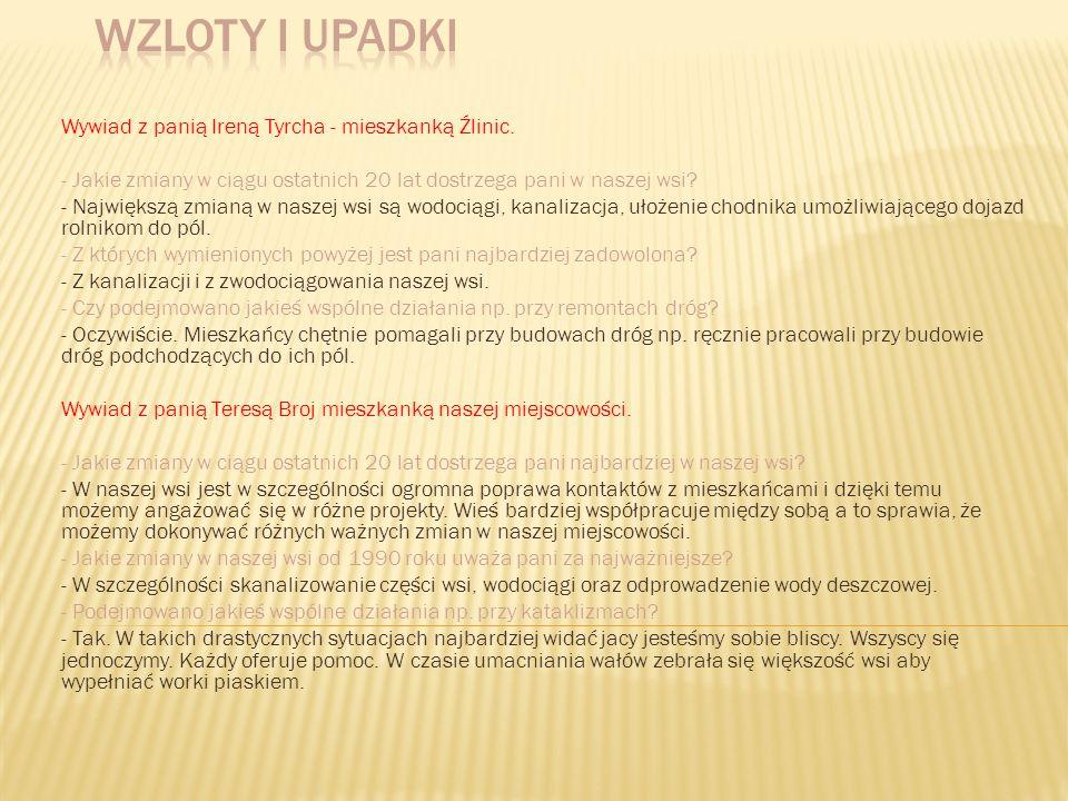 Wzloty i upadki Wywiad z panią Ireną Tyrcha - mieszkanką Źlinic.