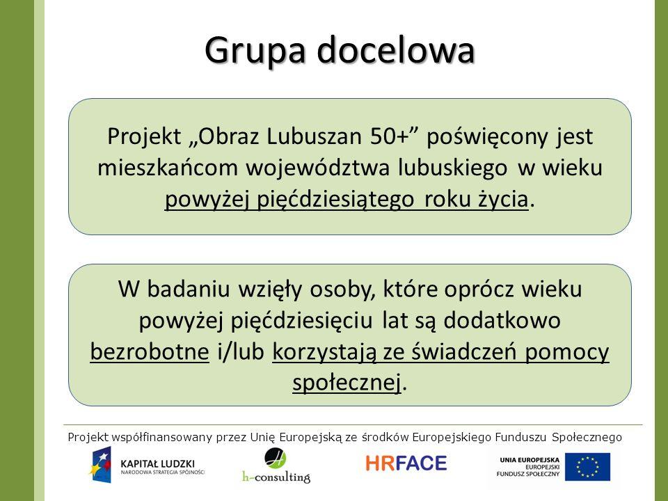"""Grupa docelowa Projekt """"Obraz Lubuszan 50+ poświęcony jest mieszkańcom województwa lubuskiego w wieku powyżej pięćdziesiątego roku życia."""