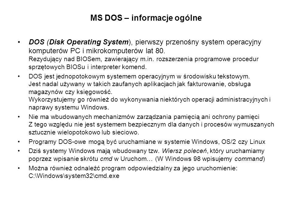 MS DOS – informacje ogólne