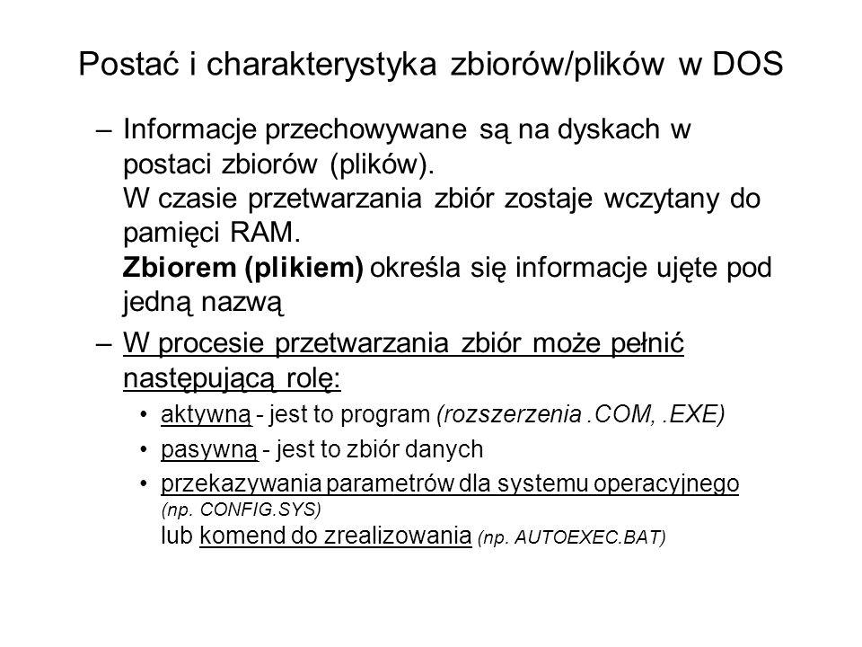 Postać i charakterystyka zbiorów/plików w DOS