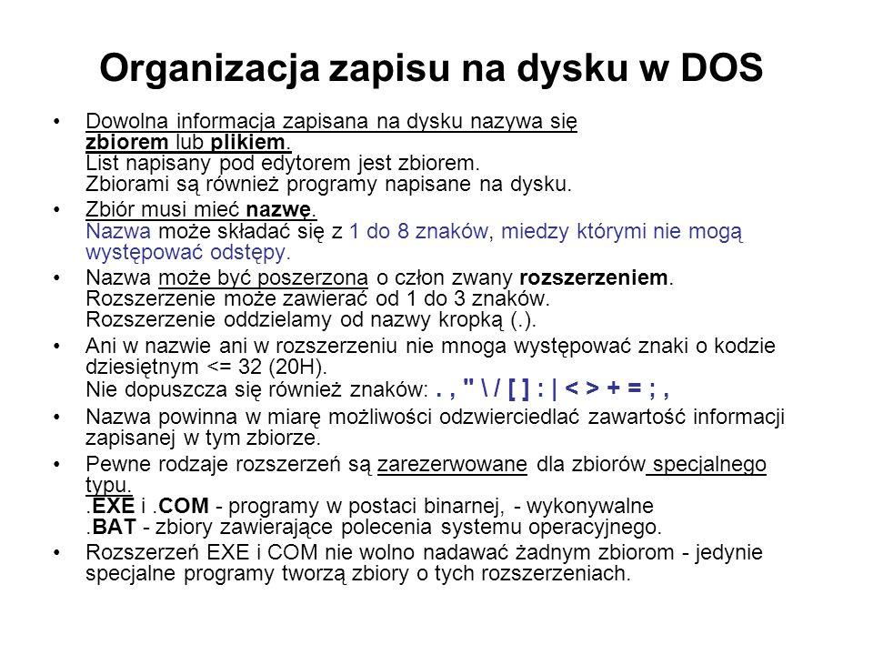Organizacja zapisu na dysku w DOS