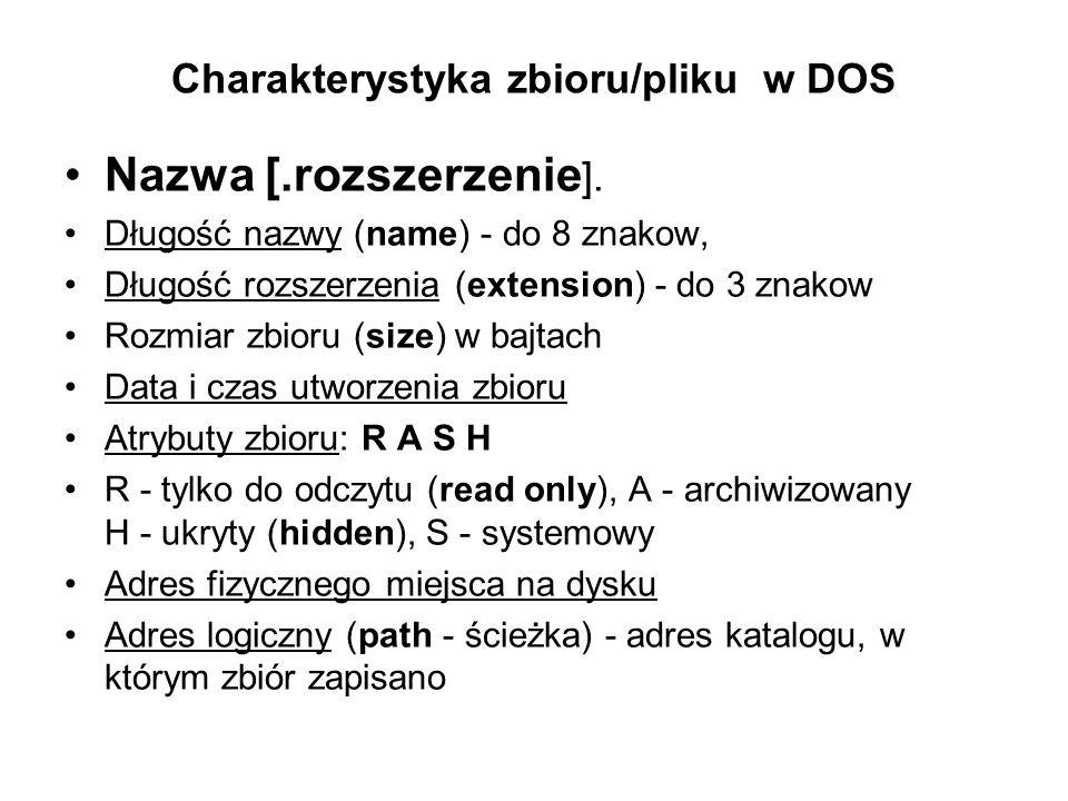 Charakterystyka zbioru/pliku w DOS