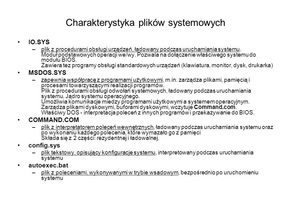 Charakterystyka plików systemowych