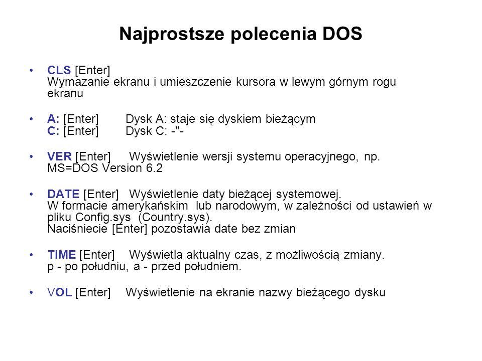 Najprostsze polecenia DOS