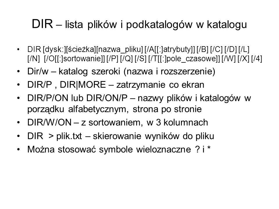 DIR – lista plików i podkatalogów w katalogu