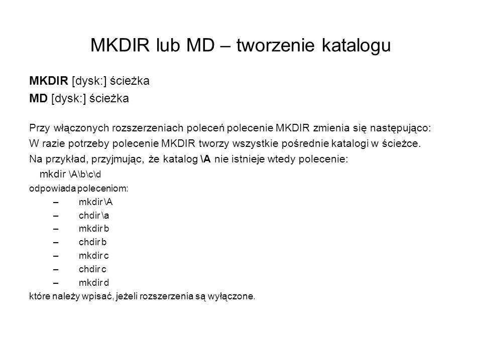 MKDIR lub MD – tworzenie katalogu