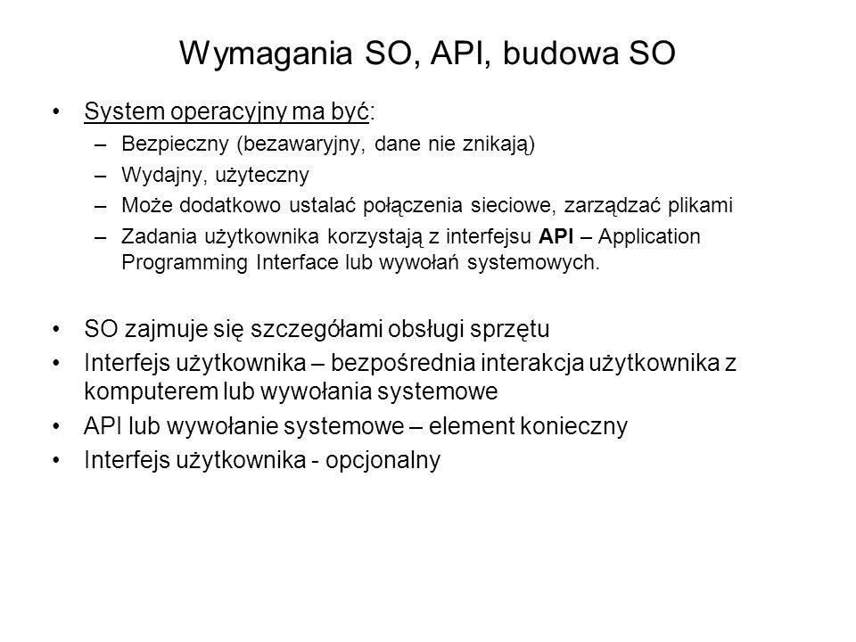 Wymagania SO, API, budowa SO