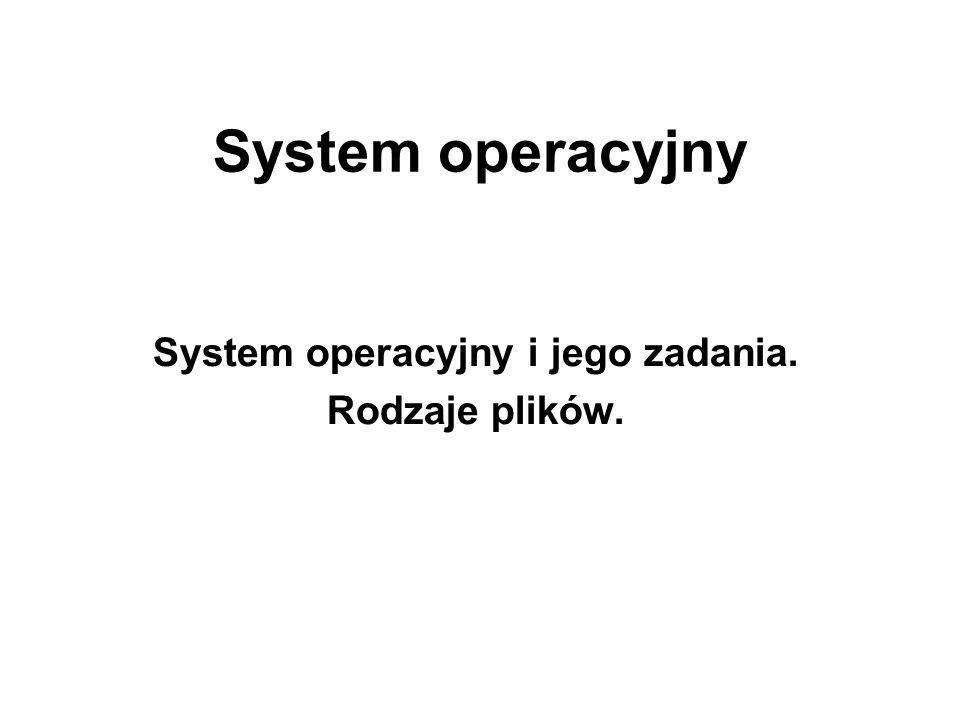 System operacyjny i jego zadania. Rodzaje plików.
