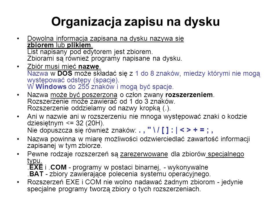 Organizacja zapisu na dysku
