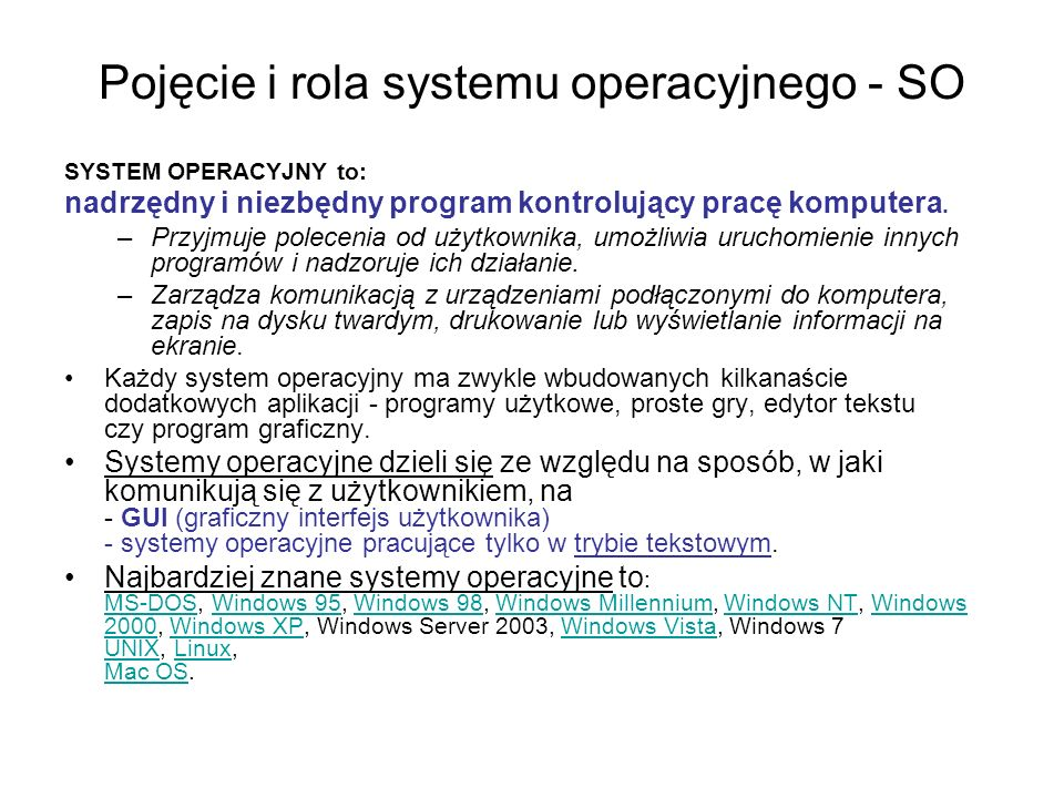 Pojęcie i rola systemu operacyjnego - SO