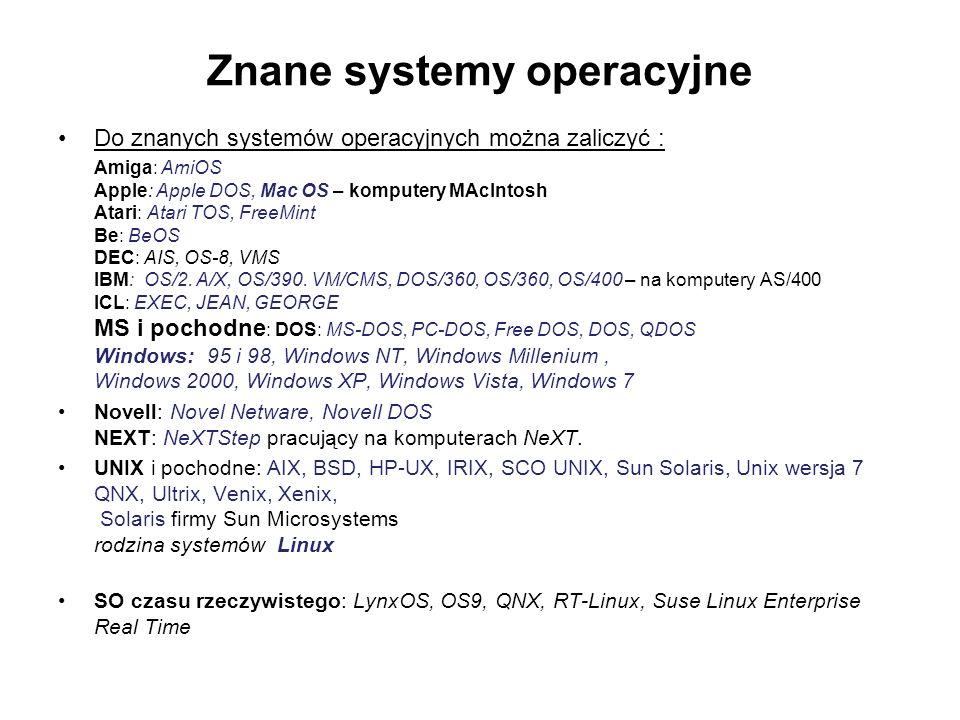 Znane systemy operacyjne