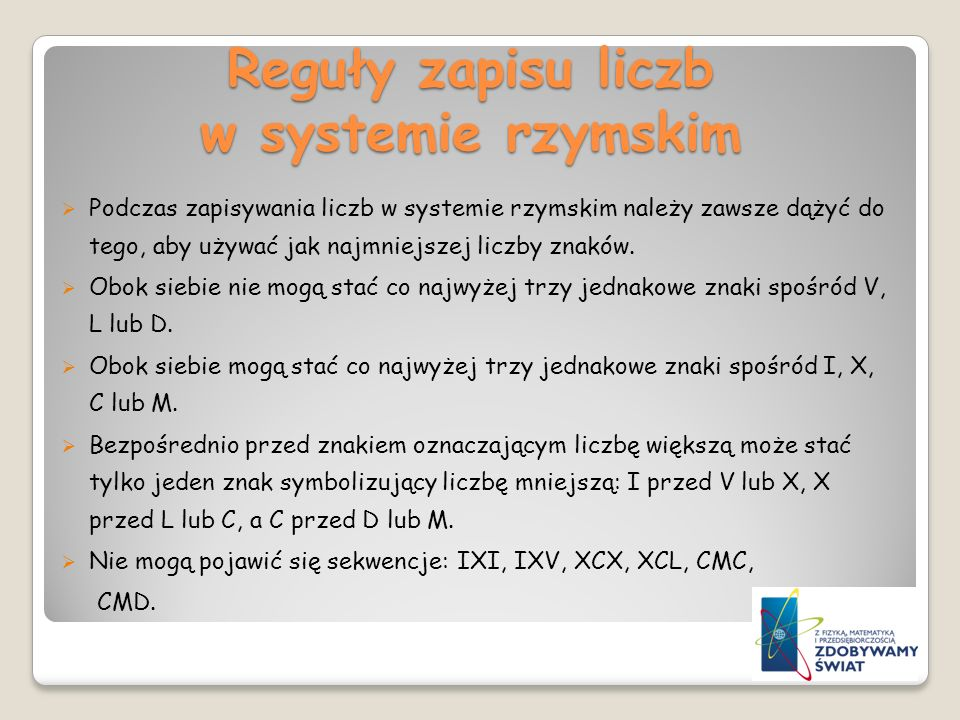 Reguły zapisu liczb w systemie rzymskim