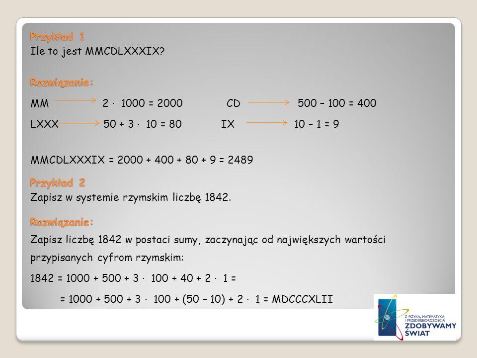 Przykład 1 Ile to jest MMCDLXXXIX