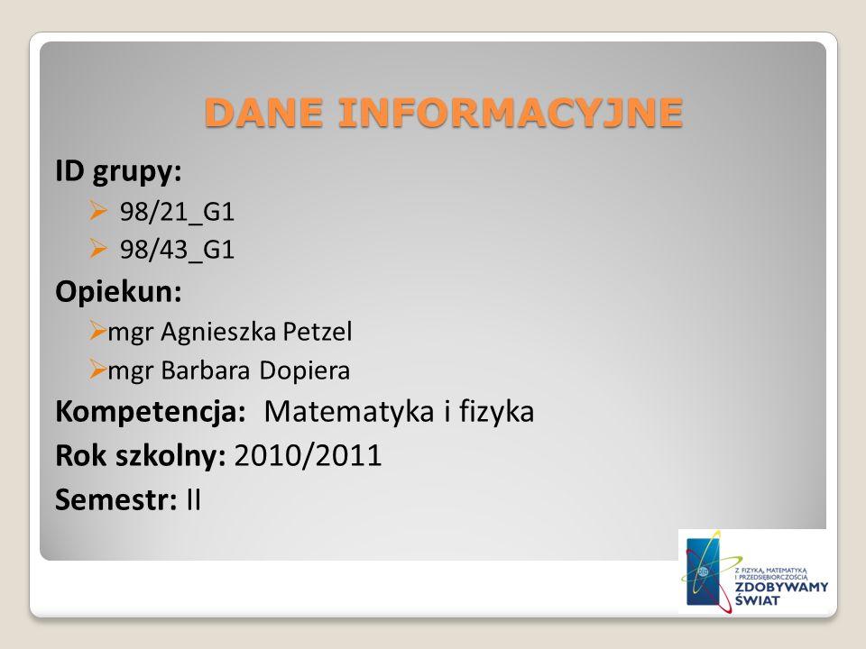 DANE INFORMACYJNE ID grupy: Opiekun: Kompetencja: Matematyka i fizyka