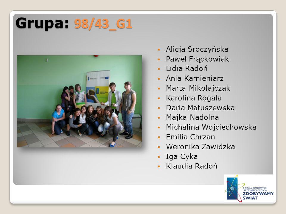 Grupa: 98/43_G1 Alicja Sroczyńska Paweł Frąckowiak Lidia Radoń