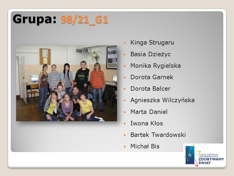 Grupa: 98/21_G1 Kinga Strugaru Basia Dzieżyc Monika Rygielska