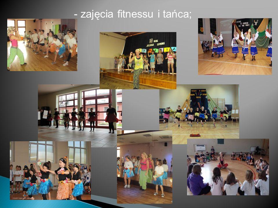 - zajęcia fitnessu i tańca;