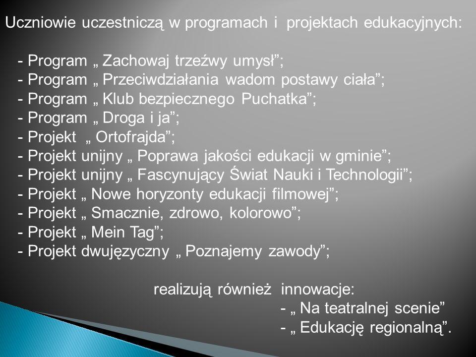 Uczniowie uczestniczą w programach i projektach edukacyjnych: