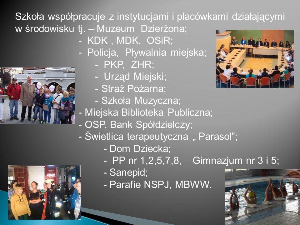 Szkoła współpracuje z instytucjami i placówkami działającymi w środowisku tj. – Muzeum Dzierżona;