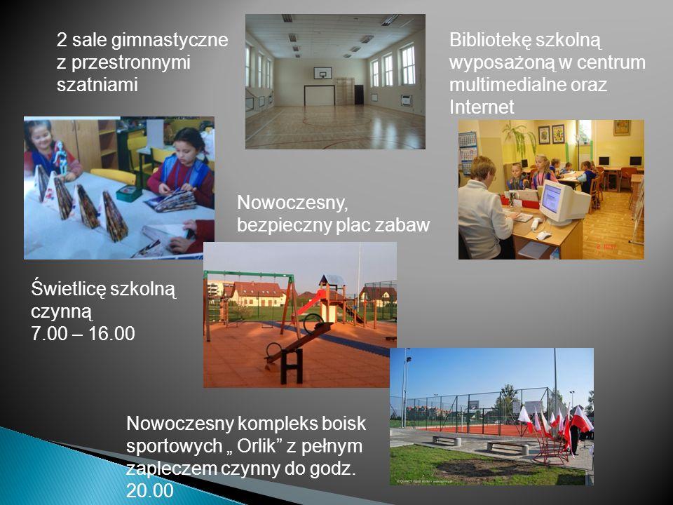 2 sale gimnastyczne z przestronnymi szatniami. Bibliotekę szkolną wyposażoną w centrum multimedialne oraz Internet.