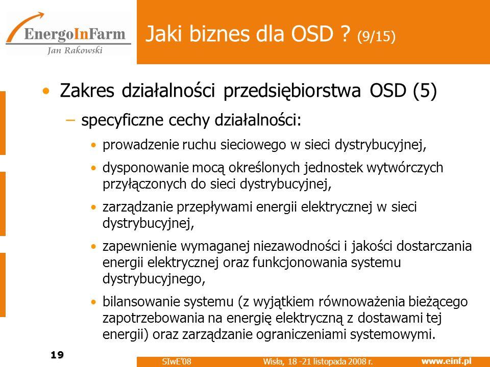Jaki biznes dla OSD (9/15) Zakres działalności przedsiębiorstwa OSD (5) specyficzne cechy działalności: