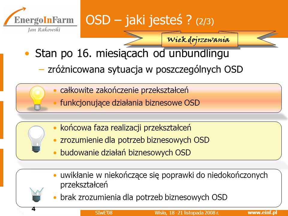 OSD – jaki jesteś (2/3) Stan po 16. miesiącach od unbundlingu