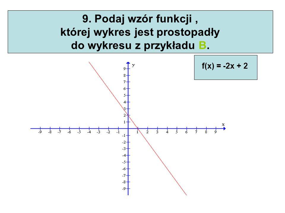 której wykres jest prostopadły do wykresu z przykładu B.