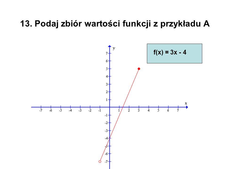 13. Podaj zbiór wartości funkcji z przykładu A