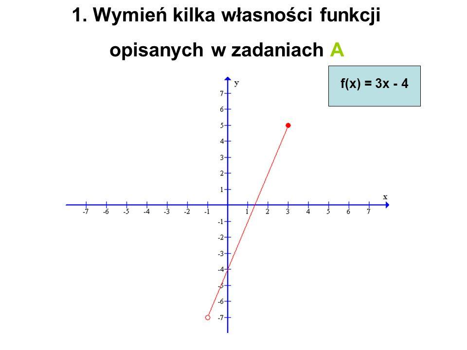 1. Wymień kilka własności funkcji opisanych w zadaniach A