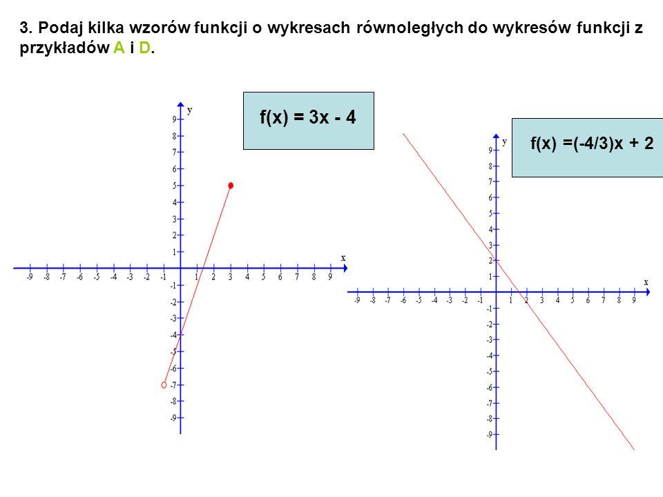 3. Podaj kilka wzorów funkcji o wykresach równoległych do wykresów funkcji z przykładów A i D.