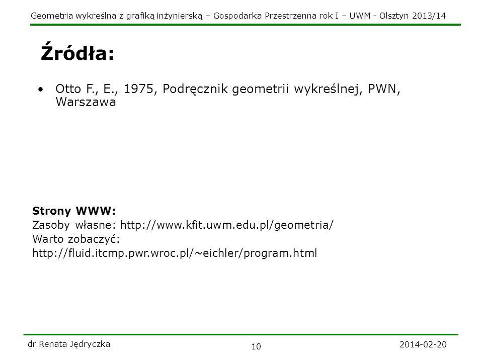 Źródła: Otto F., E., 1975, Podręcznik geometrii wykreślnej, PWN, Warszawa. Strony WWW: Zasoby własne: http://www.kfit.uwm.edu.pl/geometria/