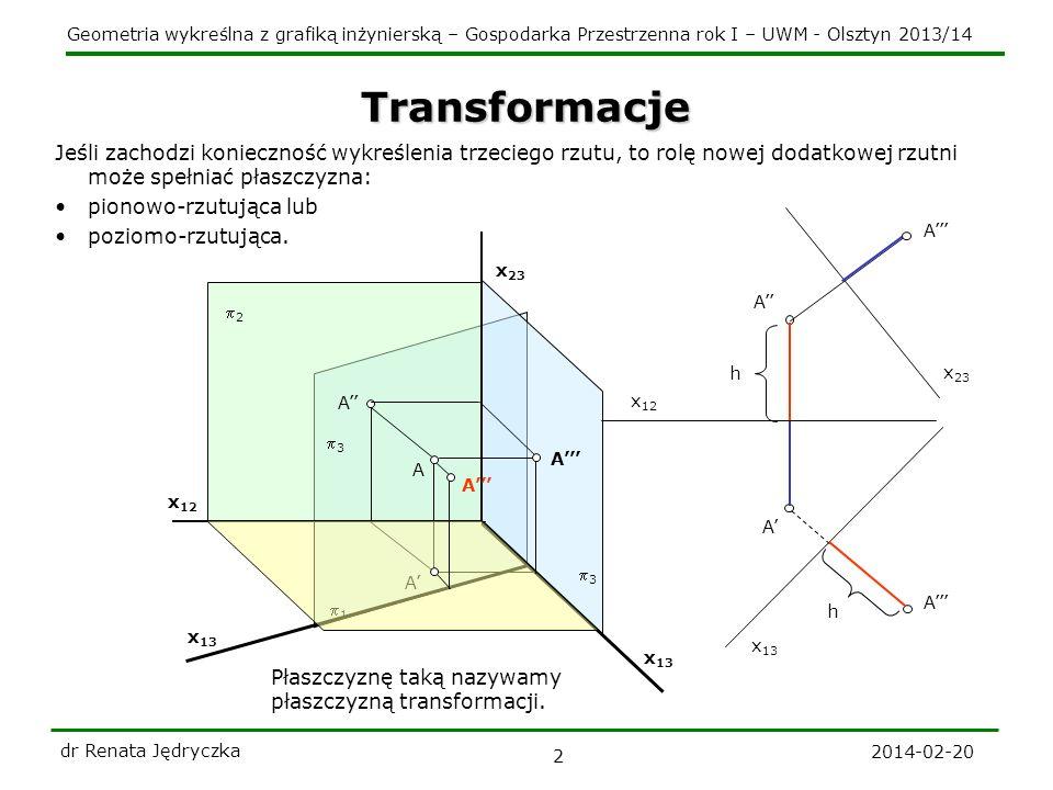 Transformacje Jeśli zachodzi konieczność wykreślenia trzeciego rzutu, to rolę nowej dodatkowej rzutni może spełniać płaszczyzna: