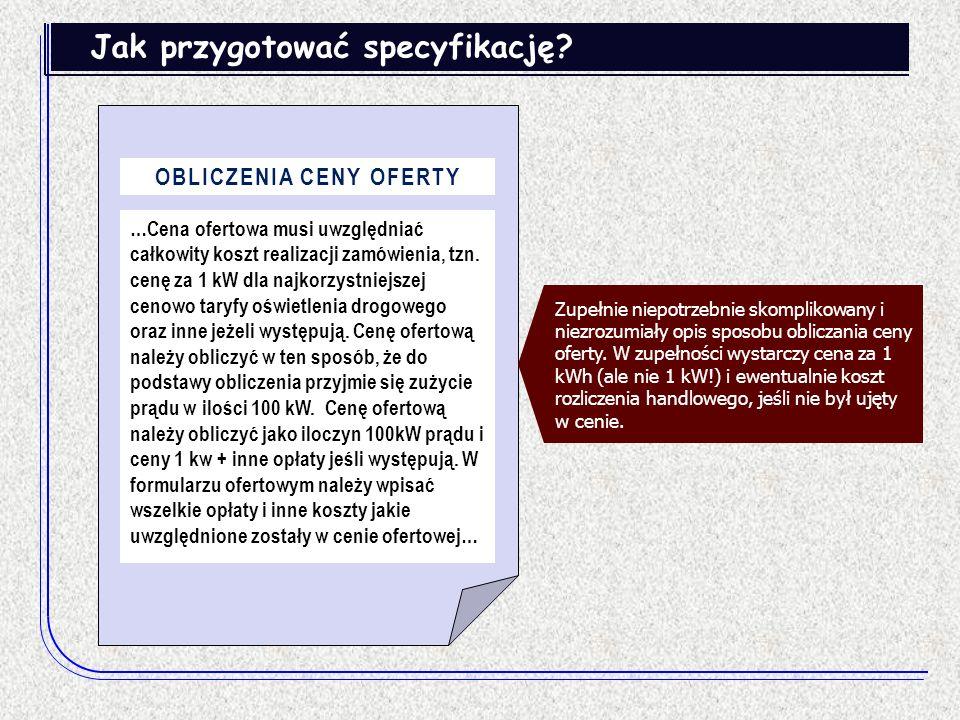 OBLICZENIA CENY OFERTY
