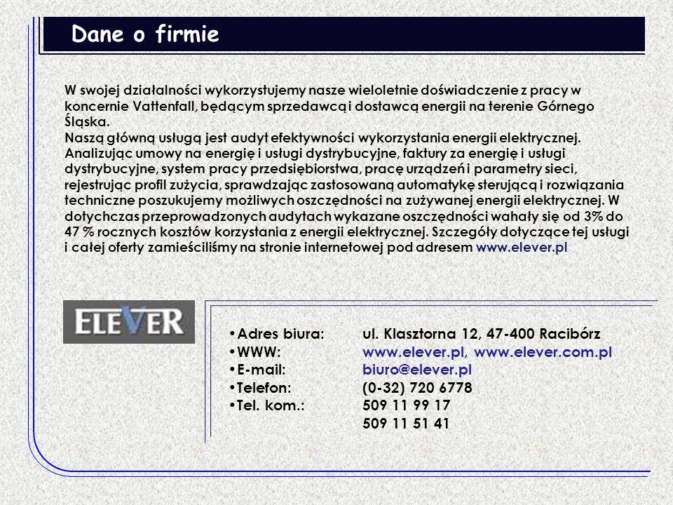 Dane o firmie Adres biura: ul. Klasztorna 12, 47-400 Racibórz