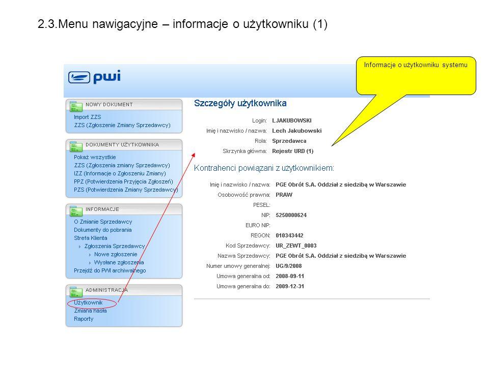 Informacje o użytkowniku systemu