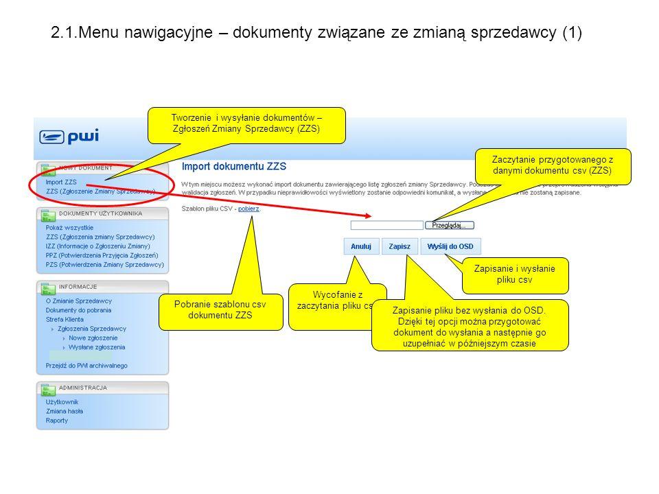 2.1.Menu nawigacyjne – dokumenty związane ze zmianą sprzedawcy (1)