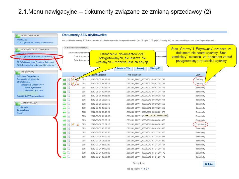 2.1.Menu nawigacyjne – dokumenty związane ze zmianą sprzedawcy (2)