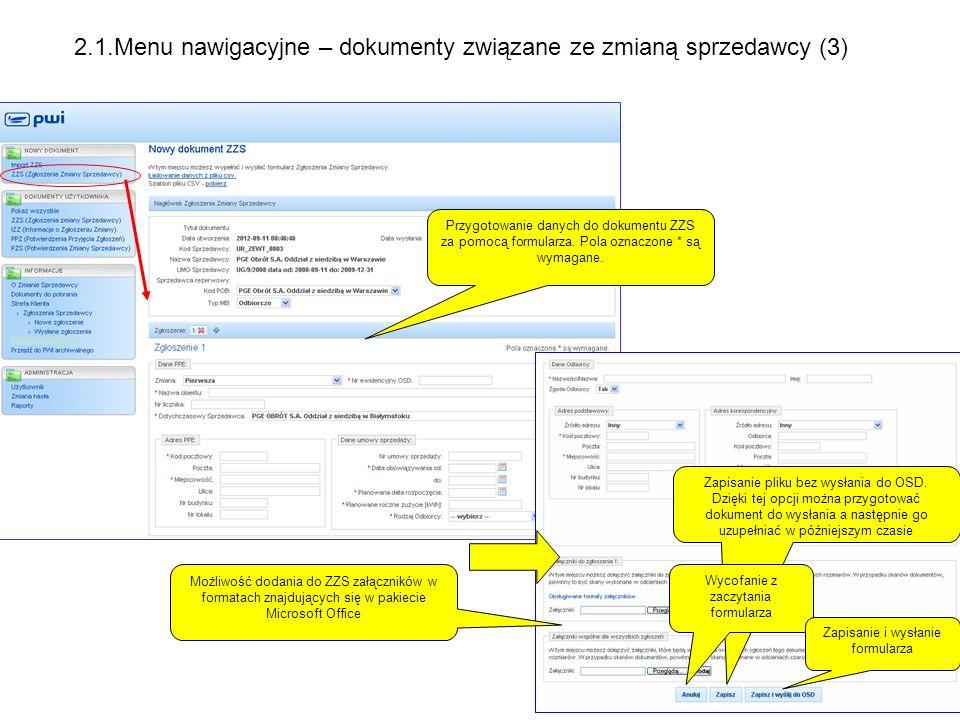 2.1.Menu nawigacyjne – dokumenty związane ze zmianą sprzedawcy (3)