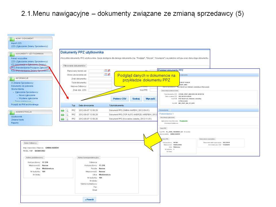 Podgląd danych w dokumencie na przykładzie dokumentu PPZ