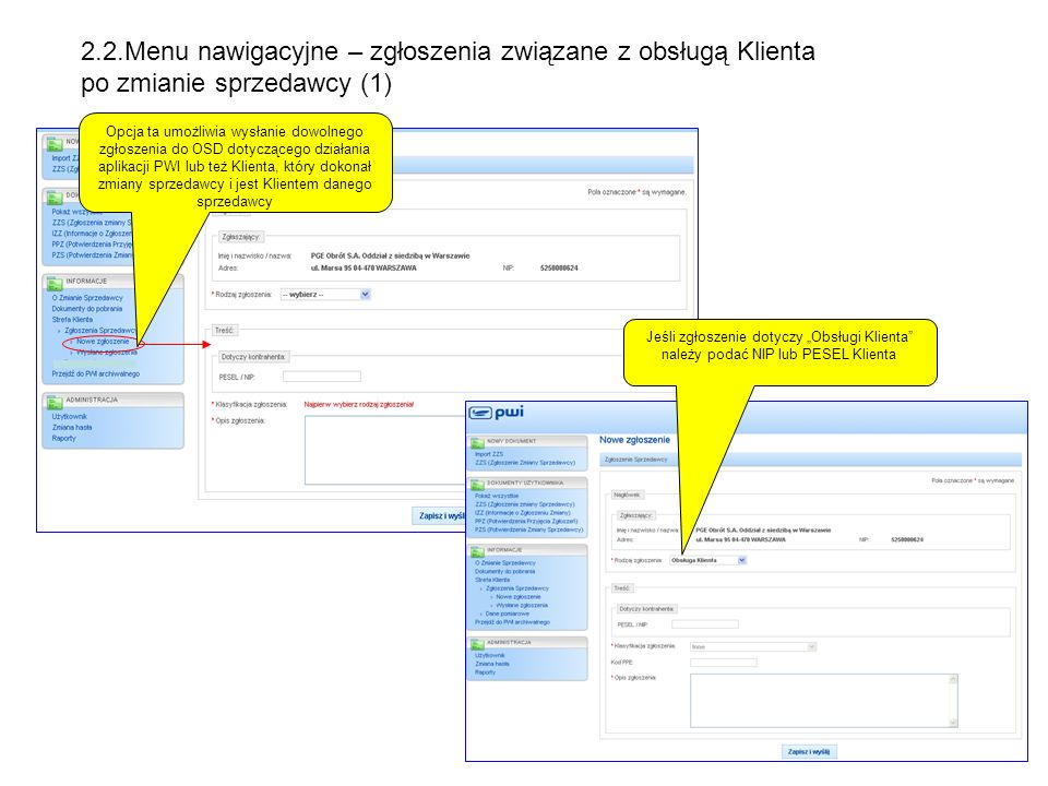 2.2.Menu nawigacyjne – zgłoszenia związane z obsługą Klienta po zmianie sprzedawcy (1)
