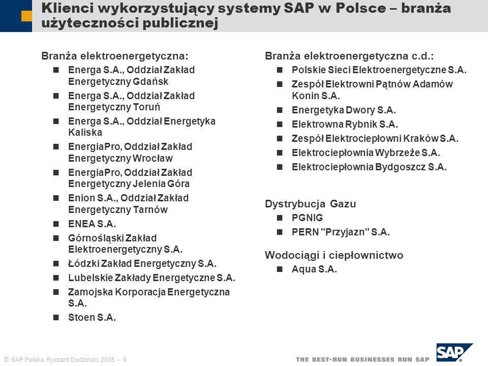 Klienci wykorzystujący systemy SAP w Polsce – branża użyteczności publicznej