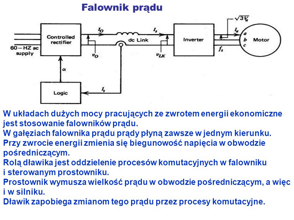 Falownik prądu W układach dużych mocy pracujących ze zwrotem energii ekonomiczne jest stosowanie falowników prądu.