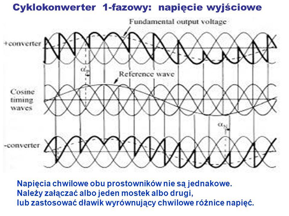 Cyklokonwerter 1-fazowy: napięcie wyjściowe