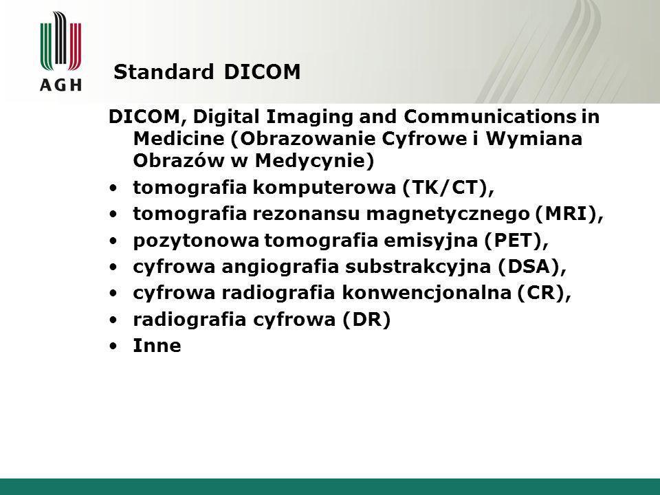 Standard DICOM DICOM, Digital Imaging and Communications in Medicine (Obrazowanie Cyfrowe i Wymiana Obrazów w Medycynie)