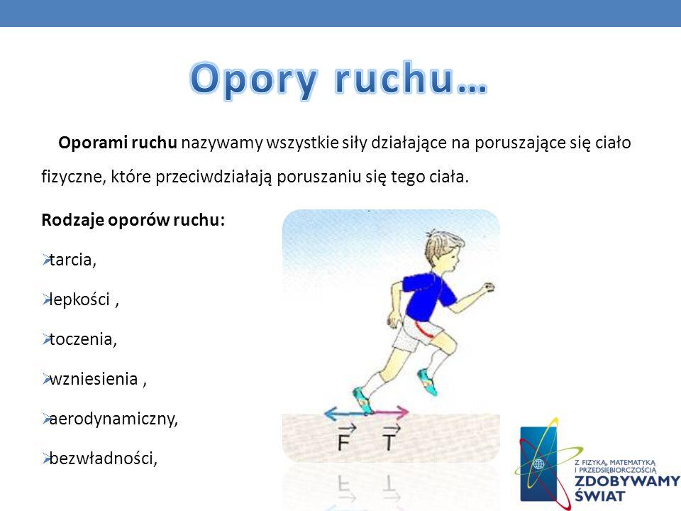 Opory ruchu… Oporami ruchu nazywamy wszystkie siły działające na poruszające się ciało fizyczne, które przeciwdziałają poruszaniu się tego ciała.