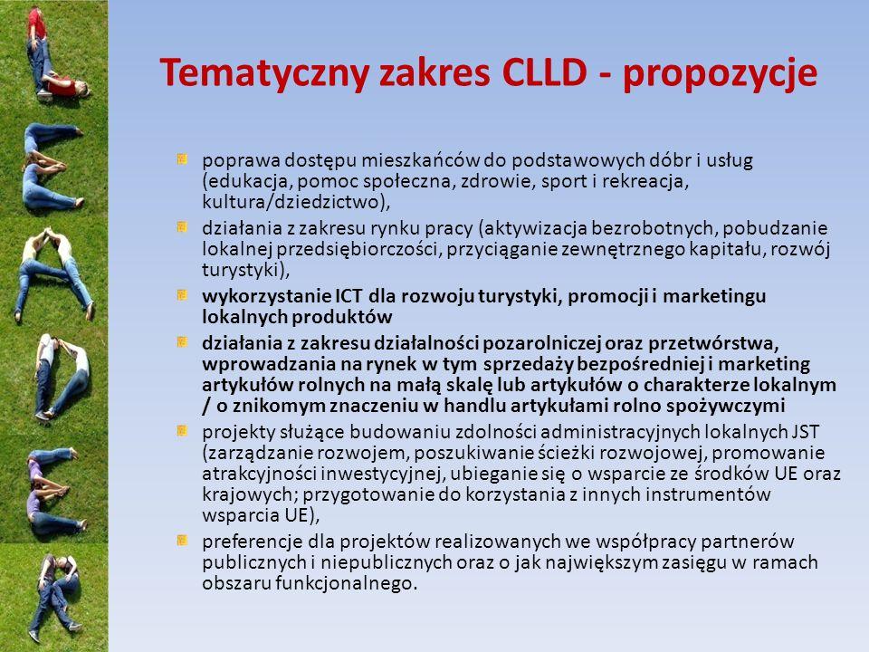 Tematyczny zakres CLLD - propozycje
