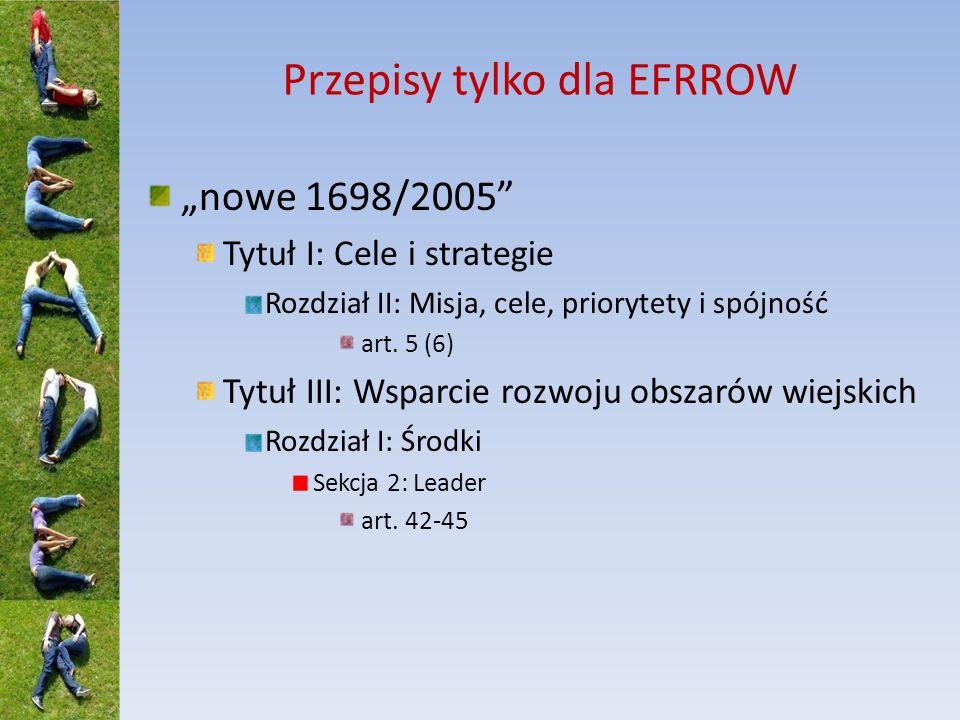 Przepisy tylko dla EFRROW